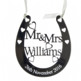Personalised Silver Mirror Acrylic Wedding Horseshoe H18